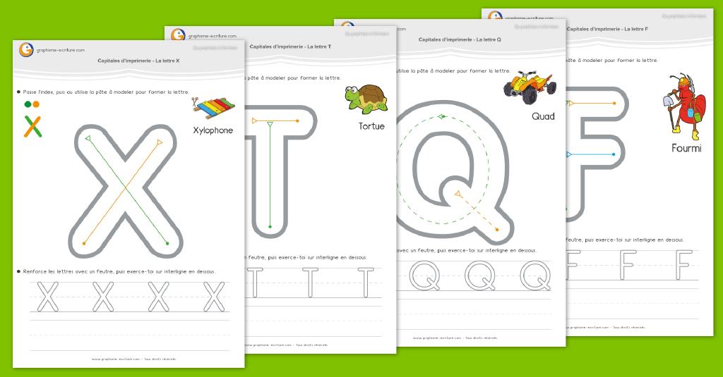 Écriture lettres capitales maternelle - Écrire les majuscules d'imprimerie